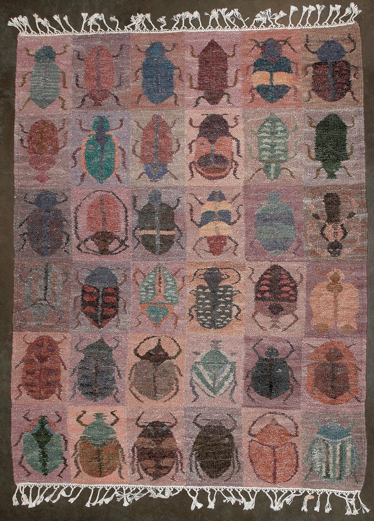 "African Carpet Beetles Handwoven 74"" X 57"" - Cultures International From Africa To Your Home"