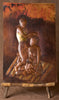 "African Copper Art Tribal Women Braiding Hair With Baby 15.5"" X 23.5"" Congo D.R.C. - Cultures International From Africa To Your Home"
