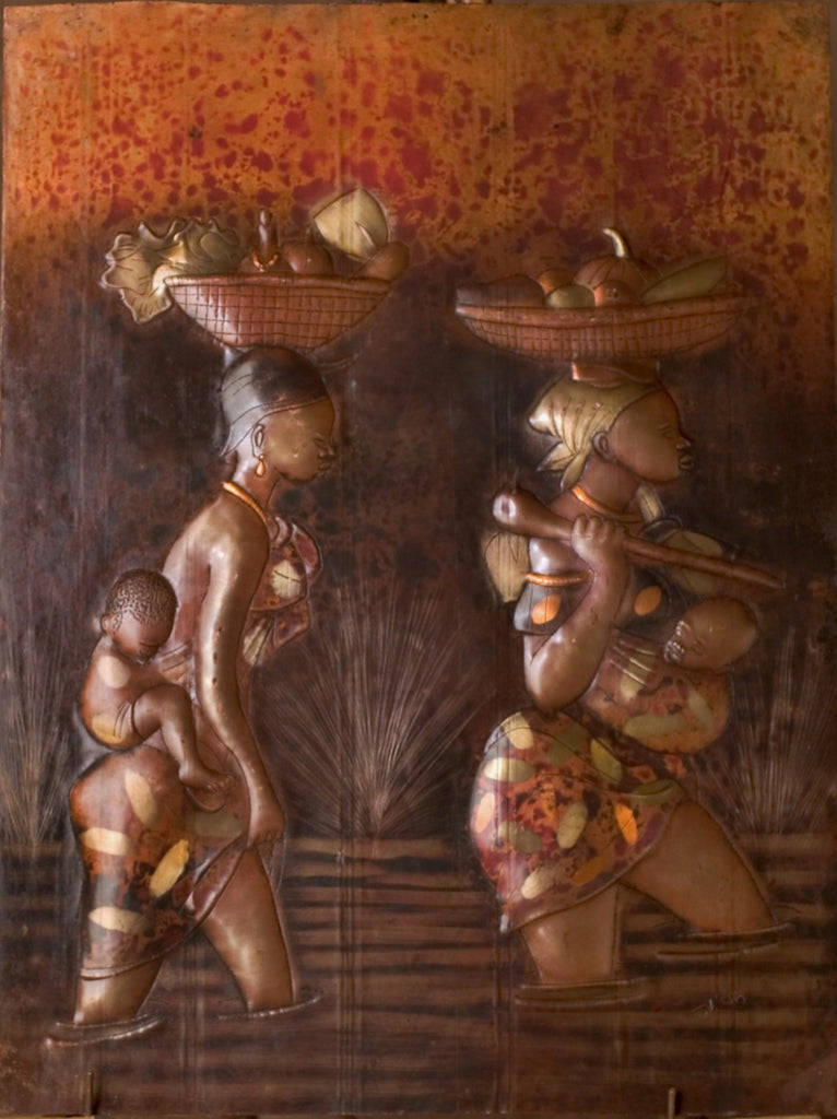 "African Copper Art Tribal Mothers Crossing River With Babies and Baskets 20"" X 15"" - Cultures International From Africa To Your Home"