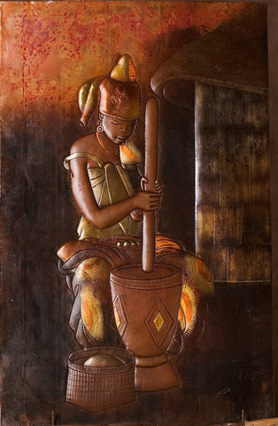 "African Copper Art Tribal Beauty Pounding Maize 15"" W X 23.5"" H"