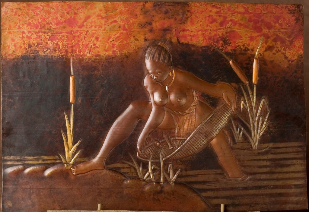 "African Copper Art Beautiful Woman Gathering Fish in River 16"" X 23"" Congo D.R.C. - Cultures International From Africa To Your Home"