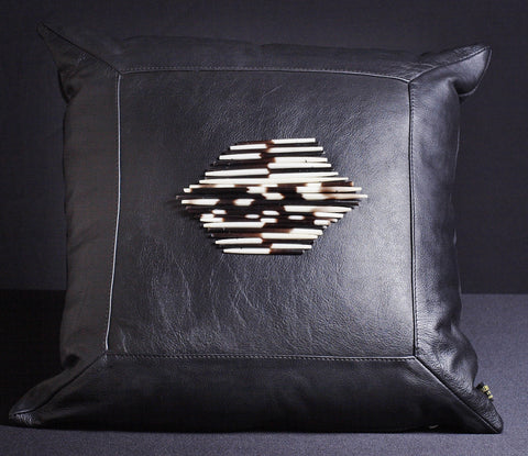 Leather Pillow Porcupine Quills Dark Black - culturesinternational