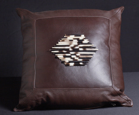Leather Pillow Porcupine Quills Dark Chocolate - culturesinternational