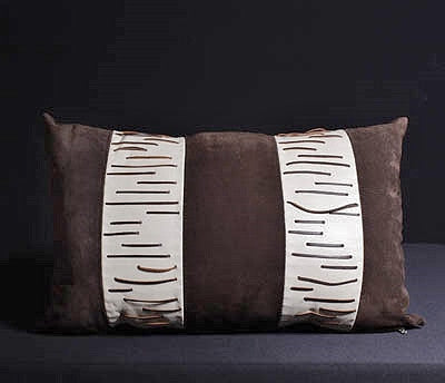 African Leather Suede & Chocolate Color Leather Pillow Cover Rectangular - culturesinternational