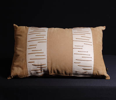 African Leather Suede & Desert Sand Color Leather Pillow Cover Rectangular - Cultures International From Africa To Your Home