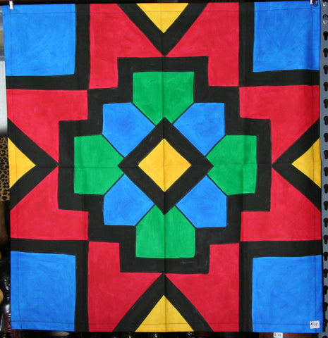 "African Table Overlay Wall Hanging Multicolored 29"" Sq."