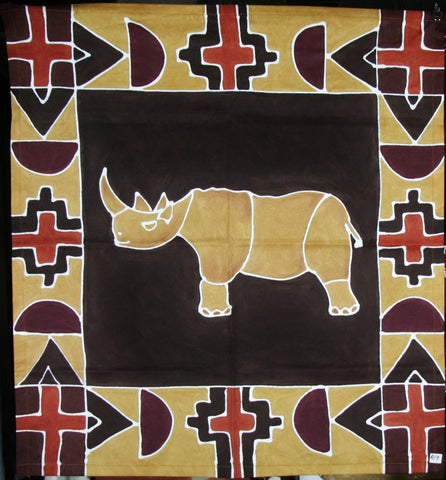 "African Rhino Table Overlay Wall Hanging Earth Tones 29"" Square"