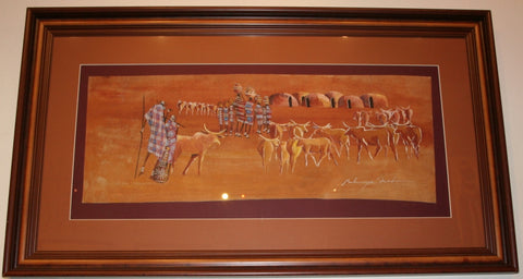"African Art Maasai Village Original Art Kenya Earth Tones 24""H X 42""W X 2""D - Cultures International From Africa To Your Home"