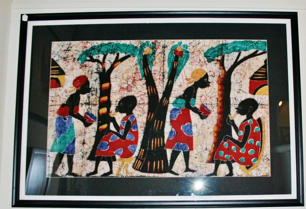 "African Batik Art Zimbabwe Village Scene Serving Husbands Vintage 65""W X 45""H X 1.5""D - Cultures International From Africa To Your Home"