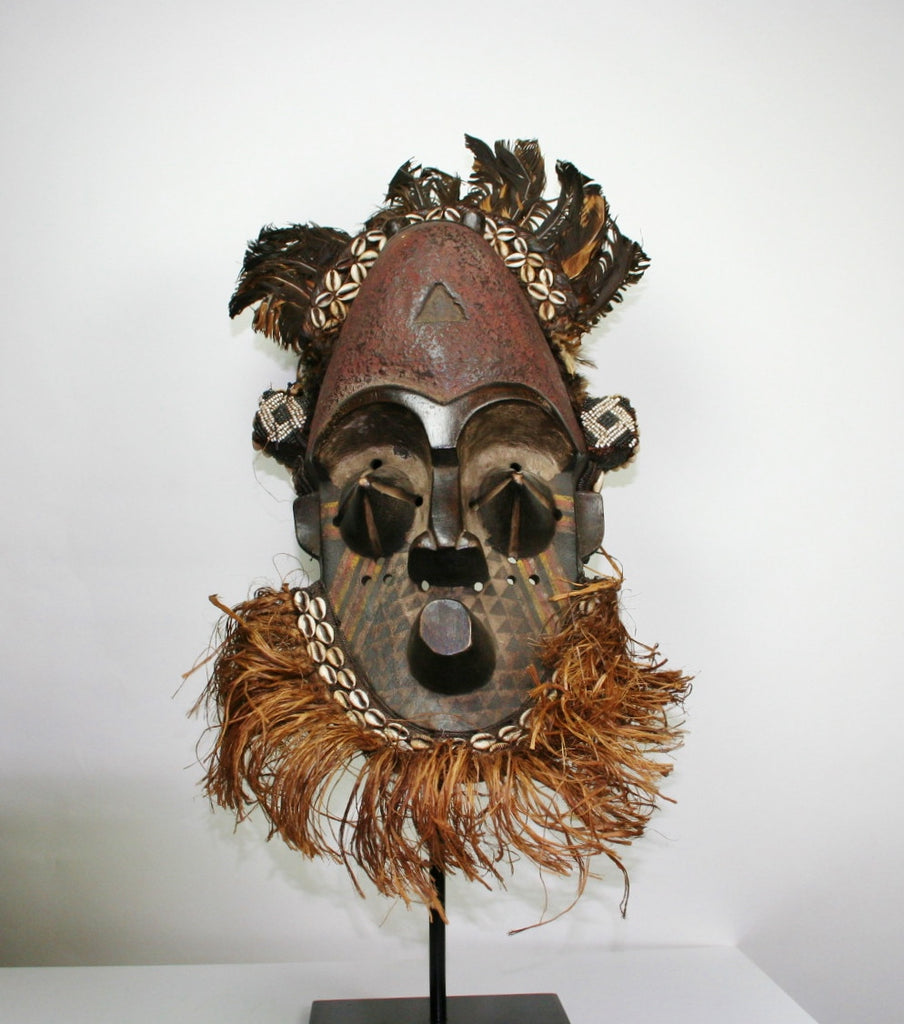 Helmet Mask Rare Antique Congo DRC - culturesinternational  - 1