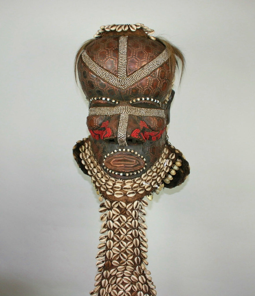 African Kuba Mboma Helmet Mask Red Vintage Congo DRC - Cultures International From Africa To Your Home