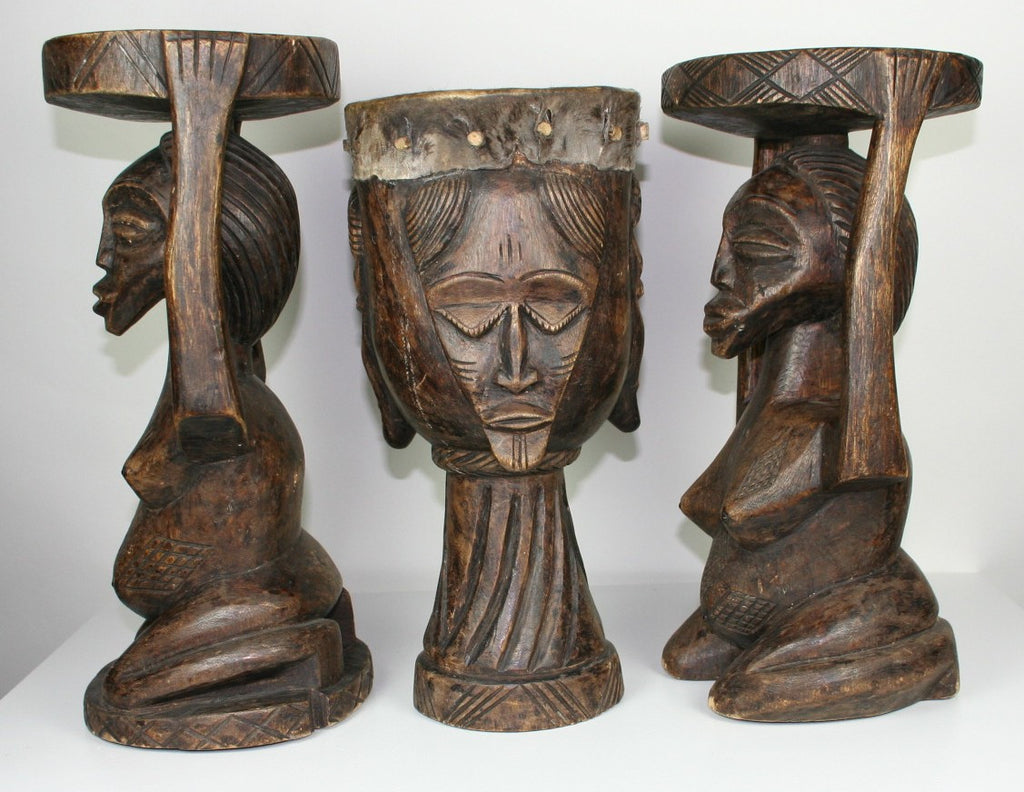 Luba 4-Mask Drum  & Two Female Caryatid Stools Antique, Collectible Congo Zaire - Cultures International From Africa To Your Home