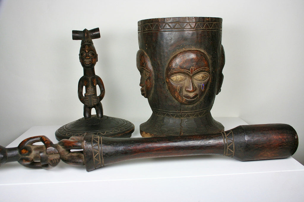 African Mortar Pestle Bowl W/Lid Carved Masks and Figurine Lid Nigerian Antique - culturesinternational  - 1