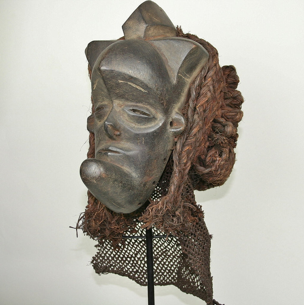 African Helmet Mask Antique Wood Raffia Textile Collectible - Cultures International From Africa To Your Home
