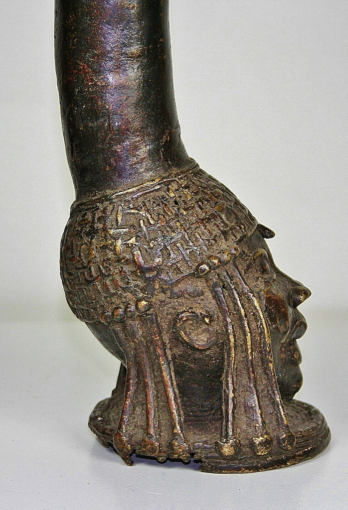 Benin Bronze Royal Head Royal Figures Trompette - Cultures International From Africa To Your Home