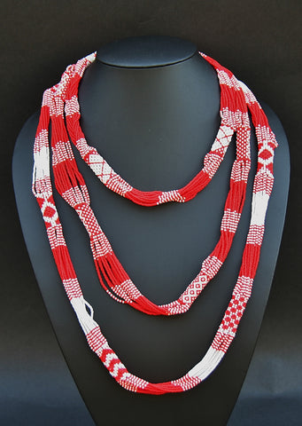 African Necklace Tribal Design Multistrand Red White Beads - Cultures International From Africa To Your Home