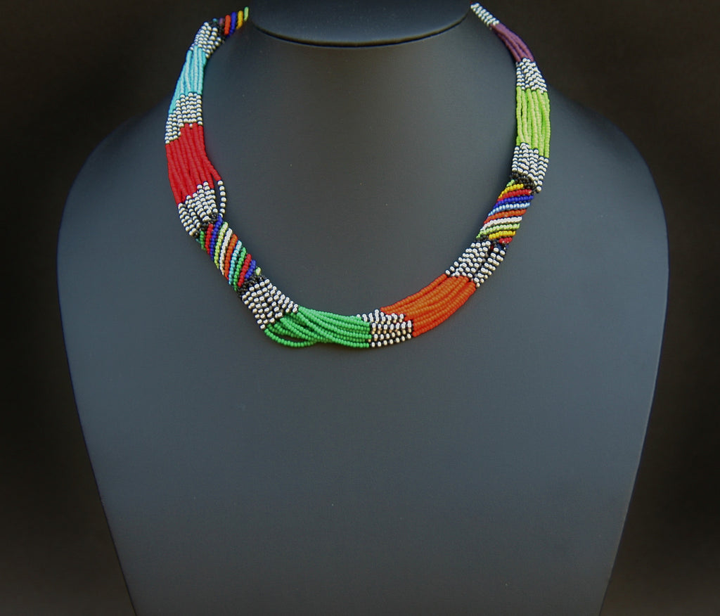 Multicolor Kuwooma Beaded Multistrand Necklace