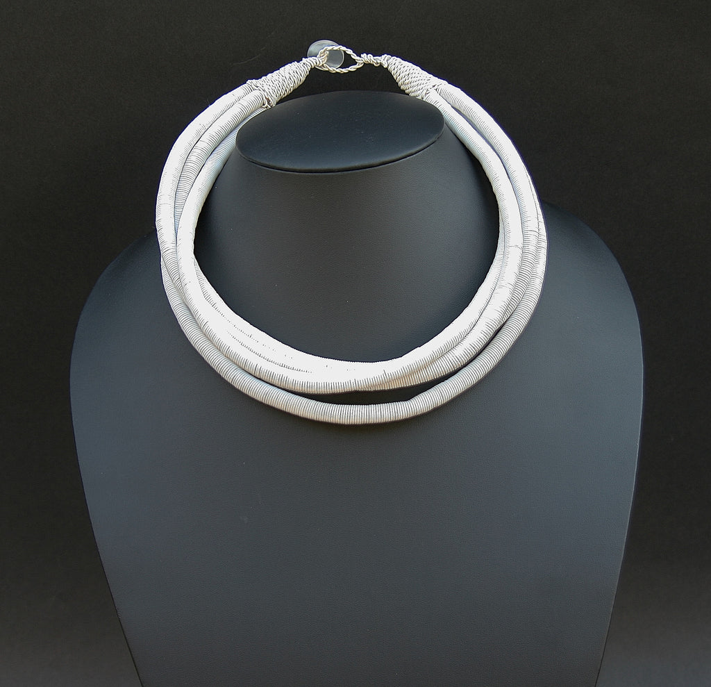 African Telephone Wire Rope 4 Strand Necklace Very White