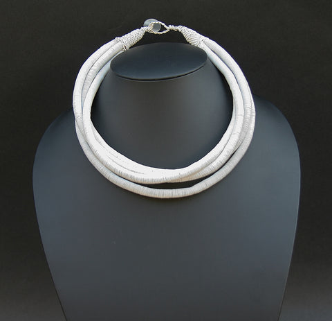 African Telephone Wire Rope 4 Strand Necklace Very White - Cultures International From Africa To Your Home