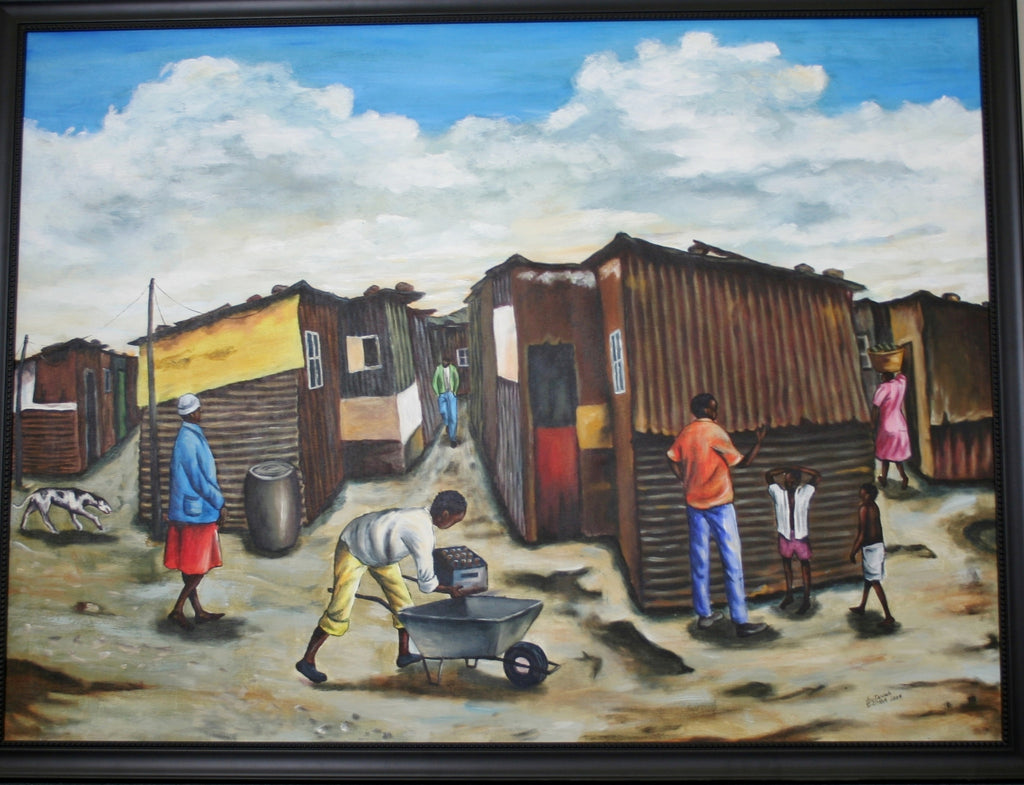 Dunoon Settlement Painting Lutanda Nzemba - Cultures International From Africa To Your Home