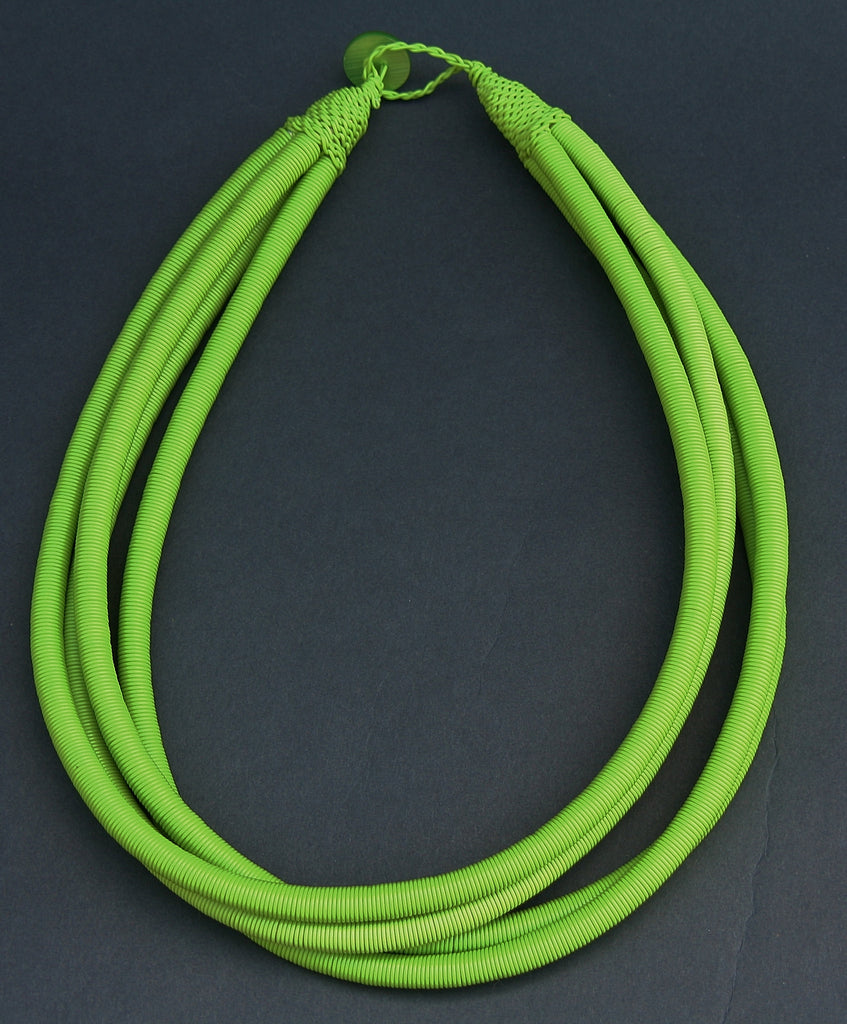 African Telephone Wire Green Rope Necklace - culturesinternational