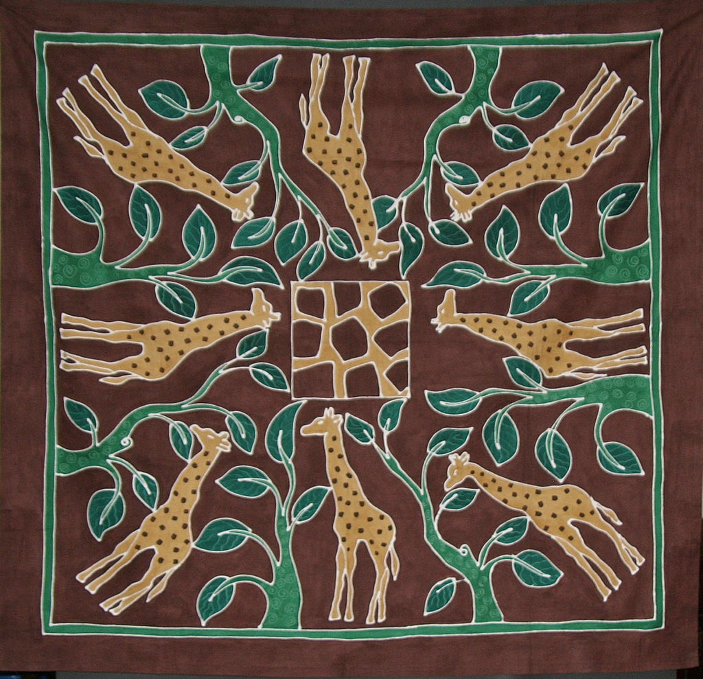 "Giraffes in Forest Tablecloth Wall Hanging 58""X 60"" Hand Painted - South Africa - Cultures International From Africa To Your Home"