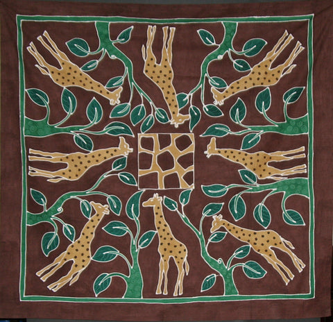 "Giraffes in Forest Tablecloth Wall Hanging 58""X 60"" Hand Painted - South Africa"