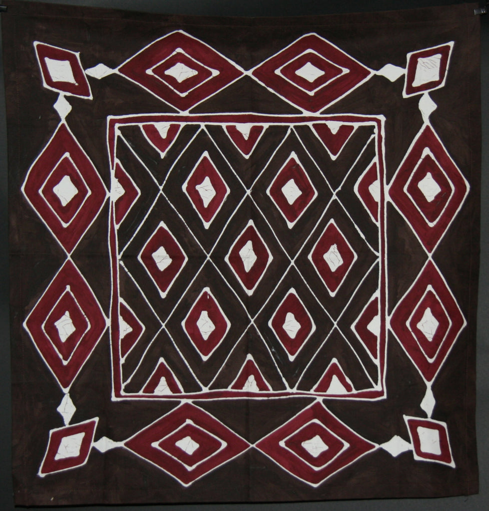 "African Table Overlay Zulu Tribal Diamonds Chocolate Cranberry Colors  Hand Painted Wall Hanging - 29"" X 31"" - Cultures International From Africa To Your Home"