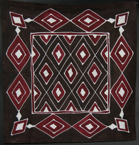 "African Table Overlay Zulu Tribal Diamonds Chocolate Cranberry Colors  Hand Painted Wall Hanging - 29"" X 31"""