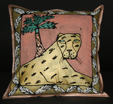 "Gold Leopard Palm TreePillow Cover/Wall Art Hand Painted in South Africa 18.5"" X 18.5"""
