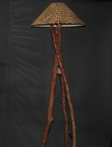African Floor Lamp Leopard DesignGoatskin Shade Recycled/Rescued Wood - culturesinternational  - 1