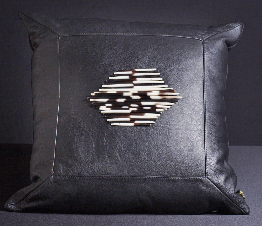 Leather Pillow Porcupine Quills Black - Cultures International From Africa To Your Home