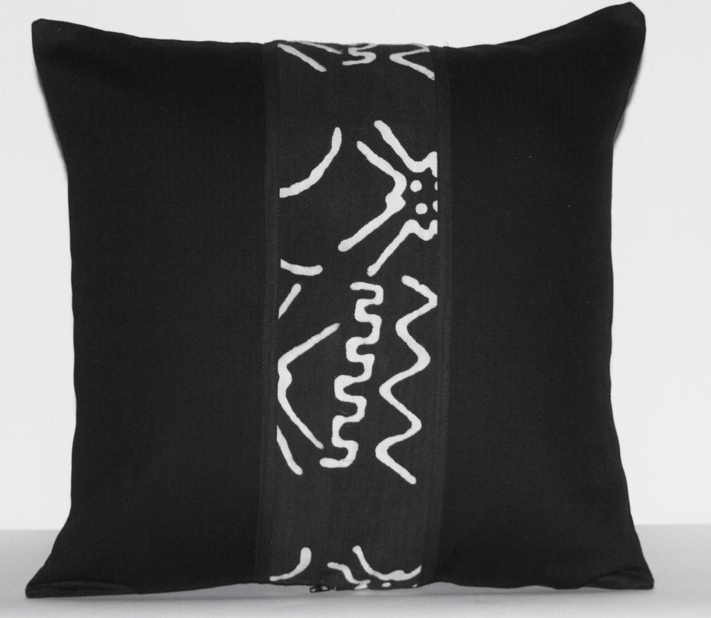 "African Mud Cloth Bogolon Applique Pillow Black White Authentic Vintage - Handcrafted in DRC  18""X18"" - Cultures International From Africa To Your Home"