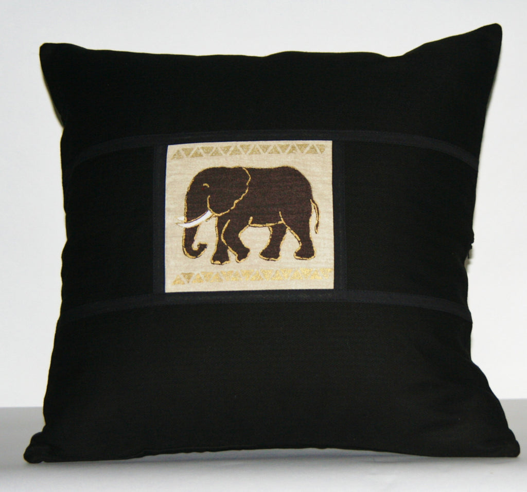 "African Elephant Pillow Tribal Design Black with Ivory Gold Gray Applique Handpainted  18""X 18"" - Cultures International From Africa To Your Home"