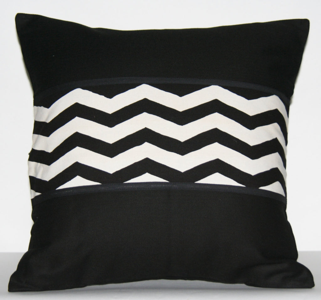 "Pillow Cover Black White African Tribal Design Applique Wave Pattern 18"" X 18"""