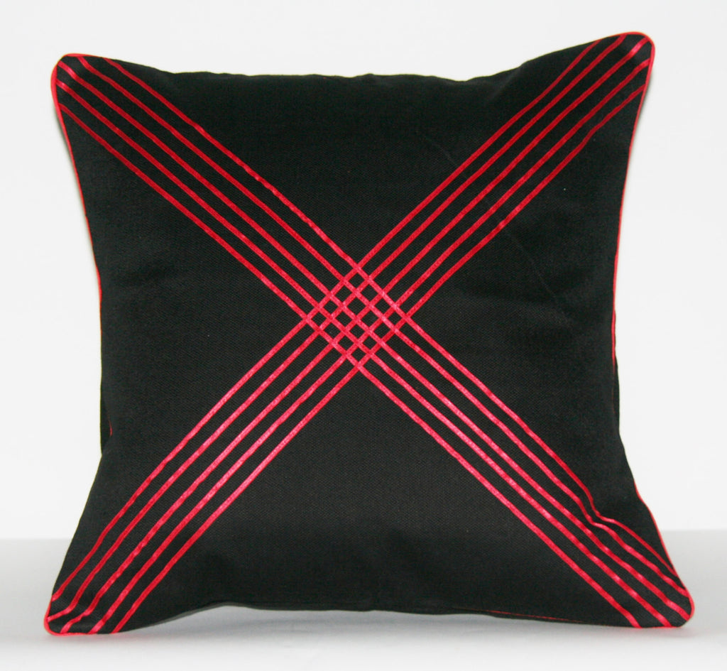 "Designer African Xhosa Tribal Black Pillow Red Applique Design Crossing Paths 16"" X 16.5"""