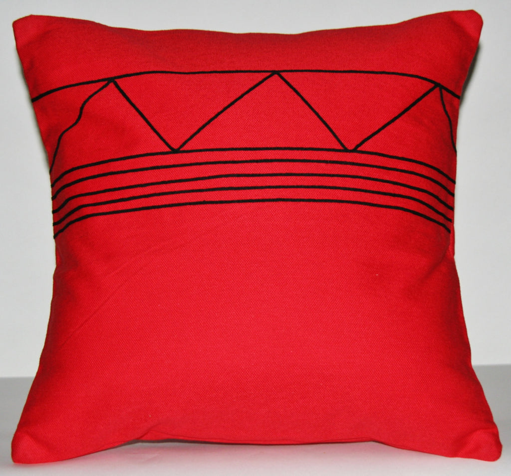 "Pillow Red Black African Xhosa Tribal Design Geometric Applique 16"" X 16"""