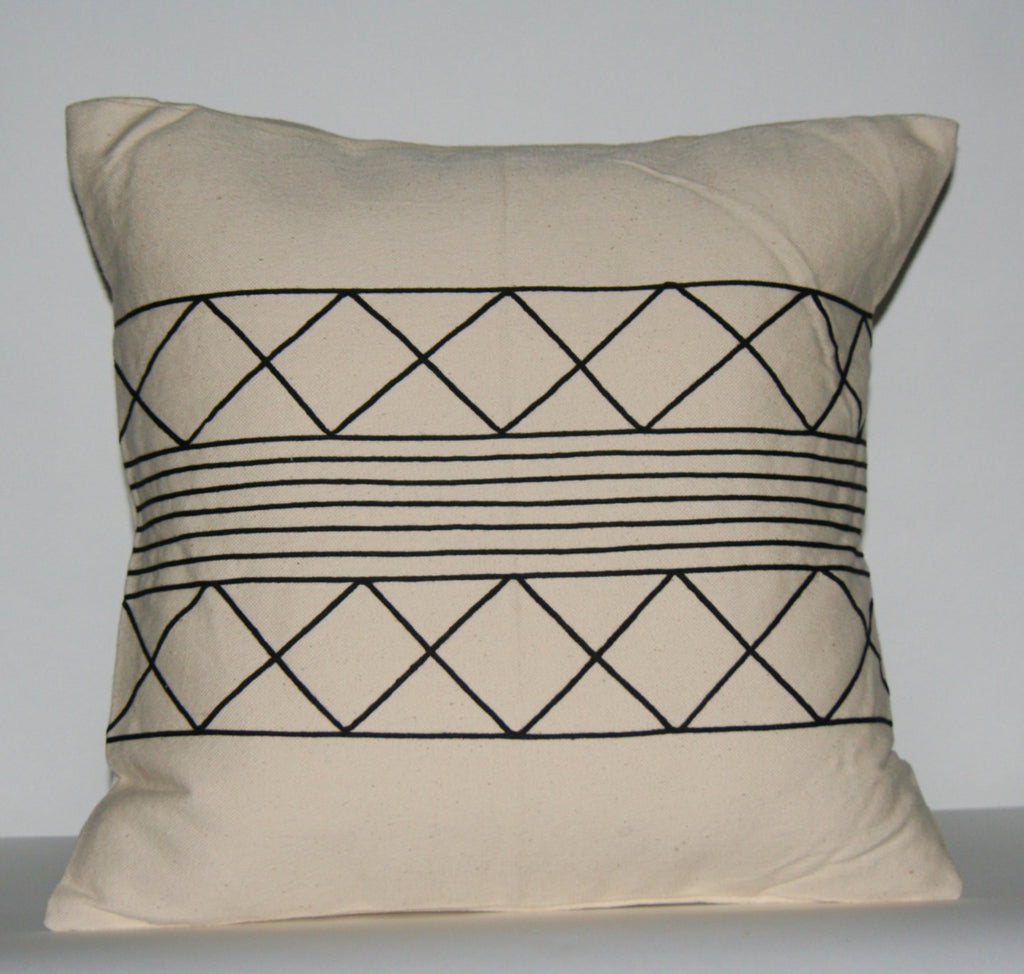 "African Tribal Pillow Cream Black  Applique 19"" X 19"" Xhosa Handmade Design - Cultures International From Africa To Your Home"
