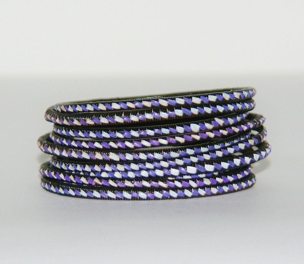 "African Recycled Bracelet Purple White Black Recycled African Mat - Unisex - 3""Diameter Set of 5"