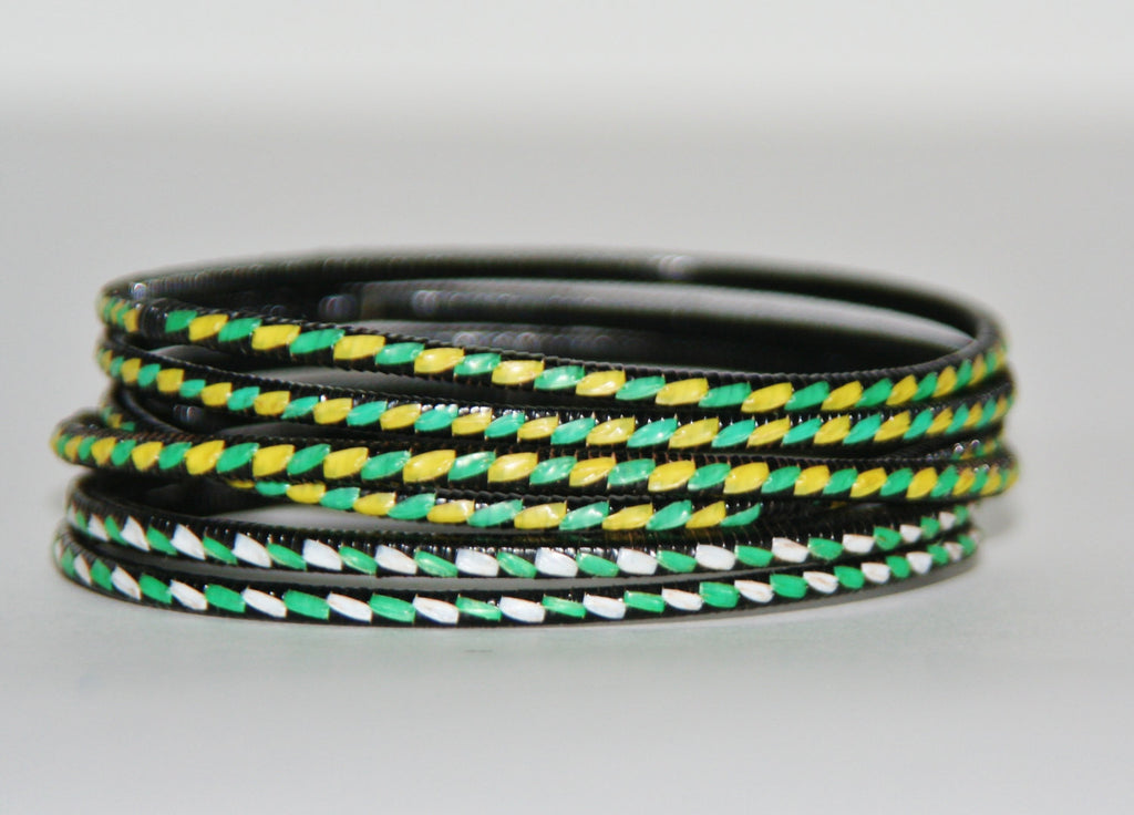 "African Recycled Bracelet Green Yellow White Black Recycled African Mat - Unisex - 3""Diameter SET OF 5"