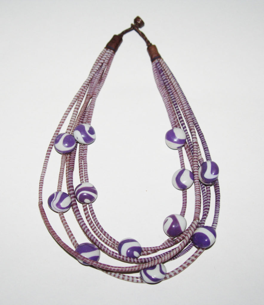 Vintage African Necklace Purple Recycled Flip Flops 6 Strand Multilayered Leather Closing