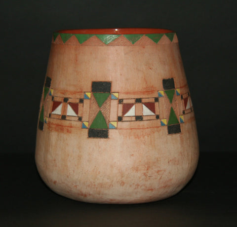 "African Clay Vessel 8""H X 8""W X 25.25""C Vintage Handcrafted South Africa"