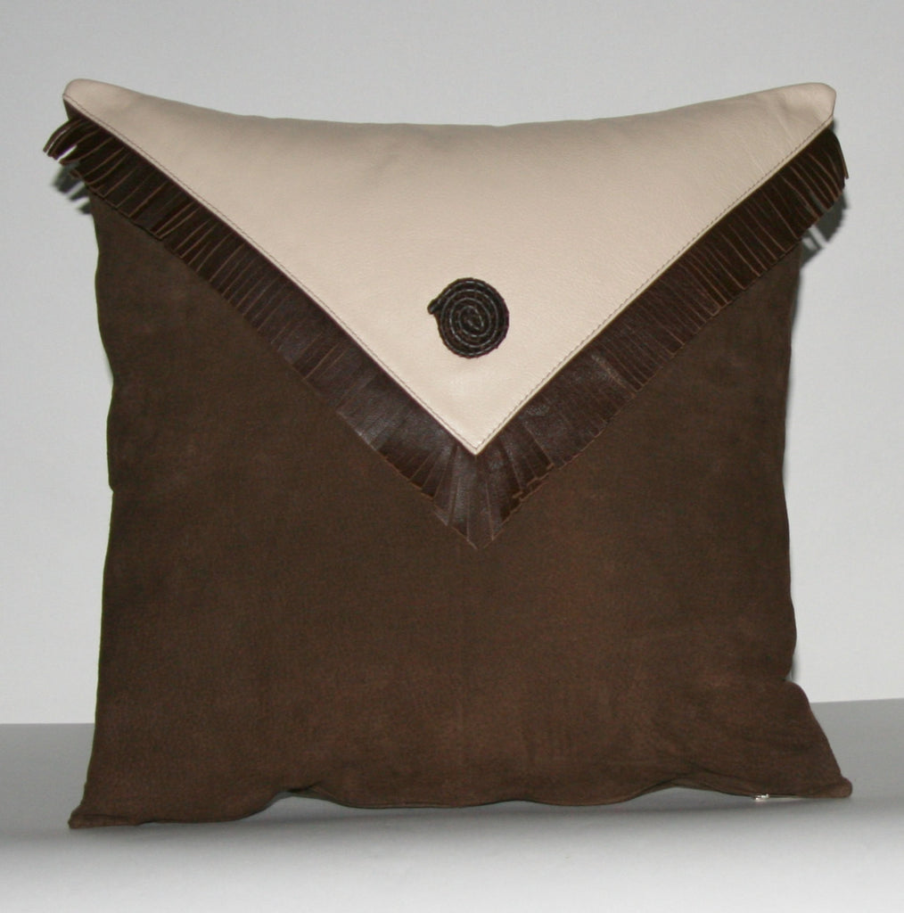 "Authentic Suede & Leather Pillow Cover Cushion Chocolate Brown Cream 18"" x 18"""