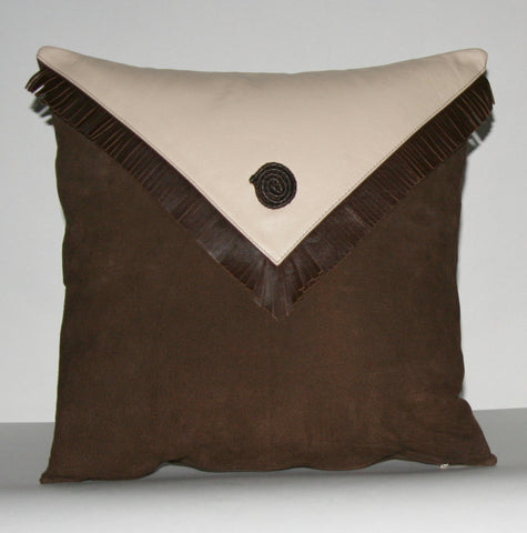 "Authentic Suede & Leather Pillow Cover Cushion Chocolate Brown Cream 18"" x 18"" - Cultures International From Africa To Your Home"