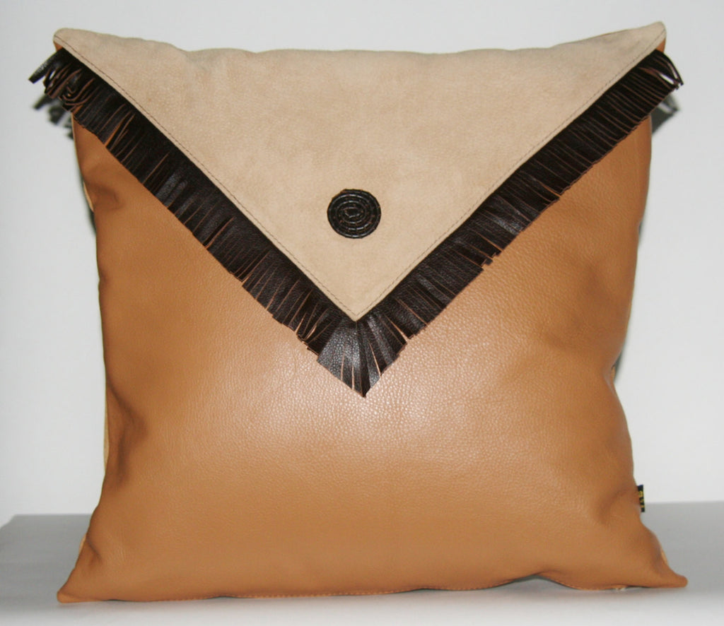 "Authentic Leather & Suede Pillow Cover Cushion Golden Tan  Champagne and Chocolate 19"" x 19"" - Cultures International From Africa To Your Home"