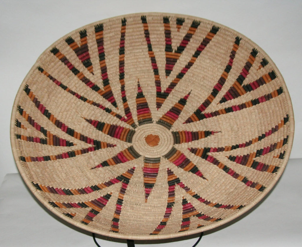 "Authentic Vintage African Zulu Isiquabetho Open Woven Basket Natural With Red Gold Green Black Brown 33""D X 7""H"