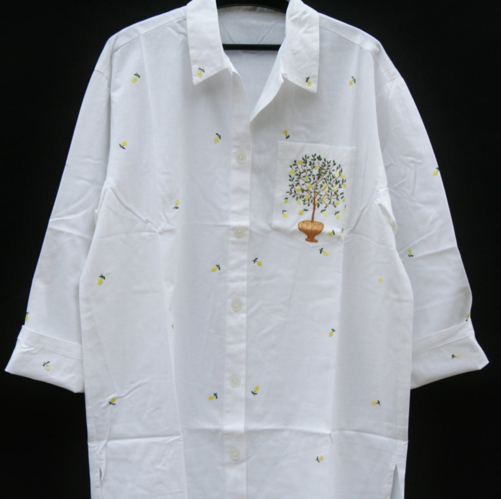 White Lounging Shirt Dress Embroidered Lemon Tree Handmade in Madagascar