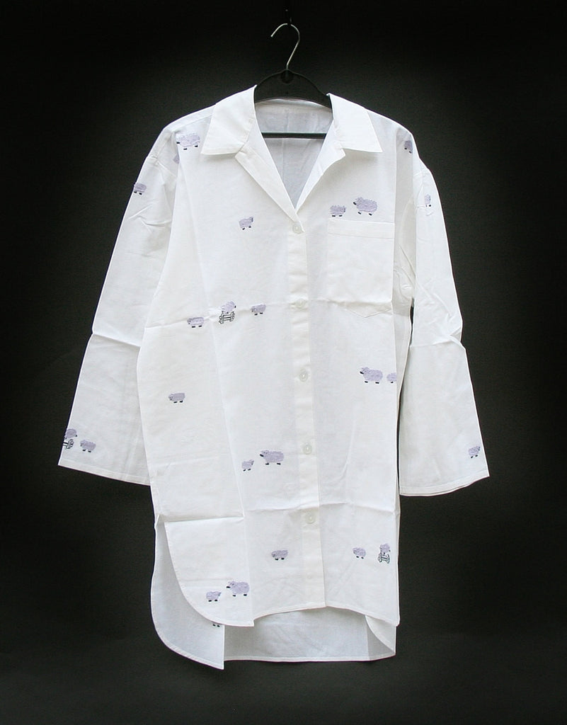 White Lounging Shirt Dress Embroidered Sheep Handmade in Madagascar - Cultures International From Africa To Your Home
