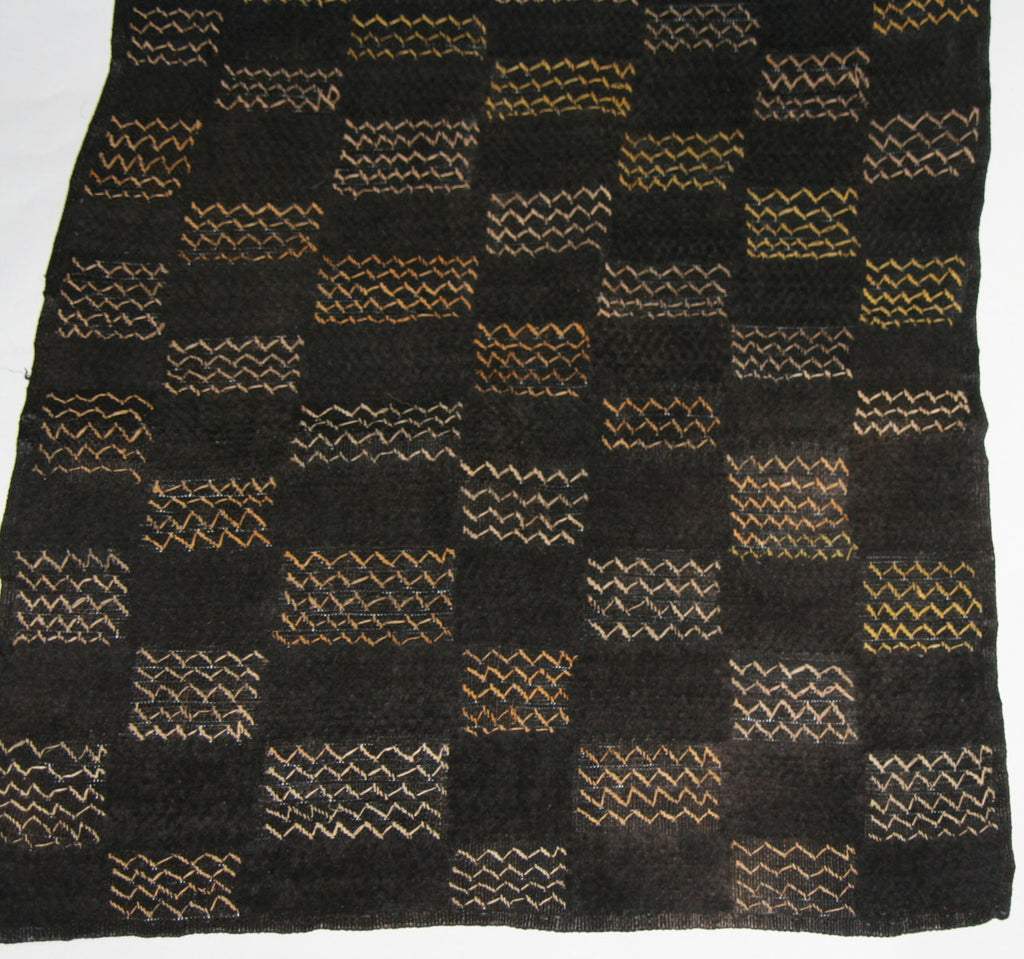 "African Kuba Shoowa Isesele Cloth - Vintage Handwoven in the Congo DRC  27.5"" X 25"""