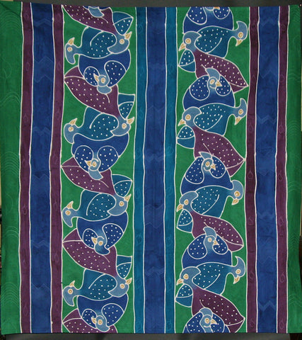 "Guinea Fowl Tablecloth Wall Hanging 57""X 62"" Hand Painted - South Africa"